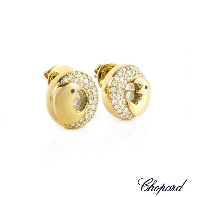 Chopard 18k Yellow Gold Happy Diamonds Moon Earrings